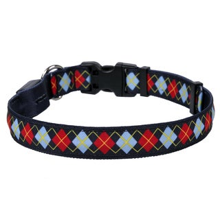Yellow Dog Orion LED Collar - Red Argyle