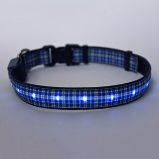 Yellow Dog Orion LED Collar - Preppy Plaid Blue
