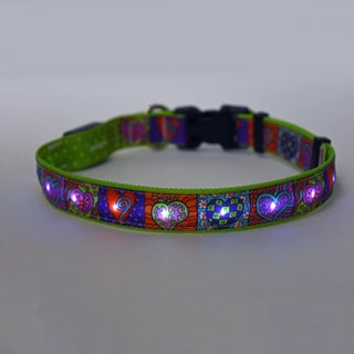 Yellow Dog Orion LED Collar - Crazy Hearts