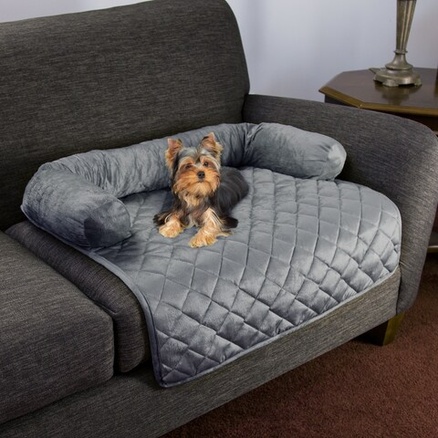 Furniture Protector Pet Cover with Shredded Memory Foam filled 3-Sided Bolster Pet Bed