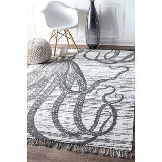nuLoom Thomas Paul Contemporary Grey Printed Shaded Octopus Indoor/Outdoor Tassel Rug (5' x 8')