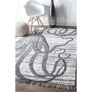 nuLoom Thomas Paul Grey Cotton-blend Contemporary Indoor/Outdoor Octopus Tassel Rug (8' x 10')