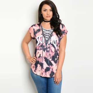 Shop The Trends Women's Plus Size Short Sleeve Top With Tie Dye Print And Crew Neckline|https://ak1.ostkcdn.com/images/products/18010666/P24180619.jpg?impolicy=medium