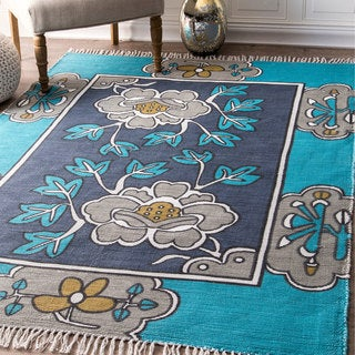 nuLoom Thomas Paul Contemporary Navy Blue/Grey/Off White Printed Floral Bold Border Indoor/Outdoor Tassel Rug (5' x 7')
