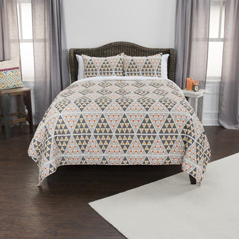 Maddux Place Grey Hand Quilted Cotton Reversible 3-Piece Quilt Set