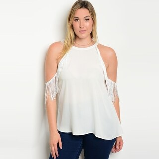 Shop The Trends Women's Plus Size Cold Shoulder Top With Fringe Sleeves And Crew Neckline