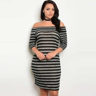 Shop The Trends Women's Plus Size Off Shoulder 3/4 Sleeve Bodycon Dress With Allover Striped Print