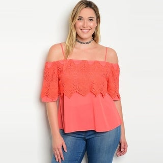 Shop The Trends Women's Plus Size Spaghetti Strap Off Shoulder Chiffon Top With Crochet Lace Detail