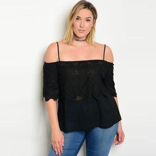 Shop The Trends Women's Plus Size Spaghetti Strap Off Shoulder Chiffon Top With Crochet Lace Detail (More options available)