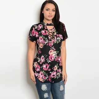 Shop The Trends Women's Plus Size Short Sleeve Floral Top With Mock Neckline And Lace Up Detail