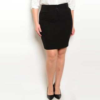 Shop The Trends Women's Plus Size Fitted Waist Skirt With Zipper Closure