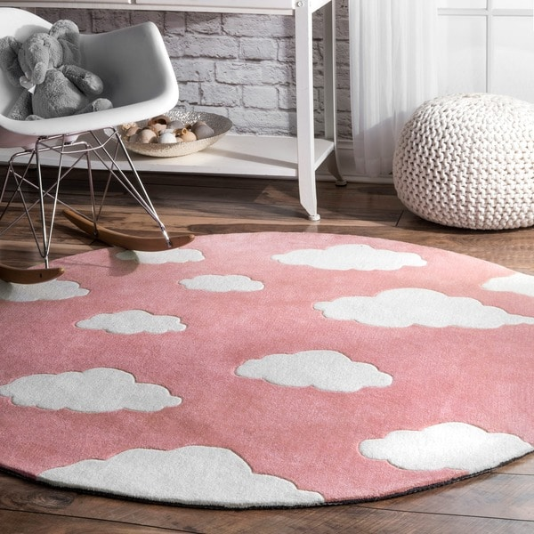 Nuloom Modern Clouds Pink Handmade Kids Nursery Round Rug 5 X27