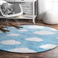 nuLoom Handmade Modern Clouds Kids Nursery Blue Round Rug (5' Round) - 5' Round