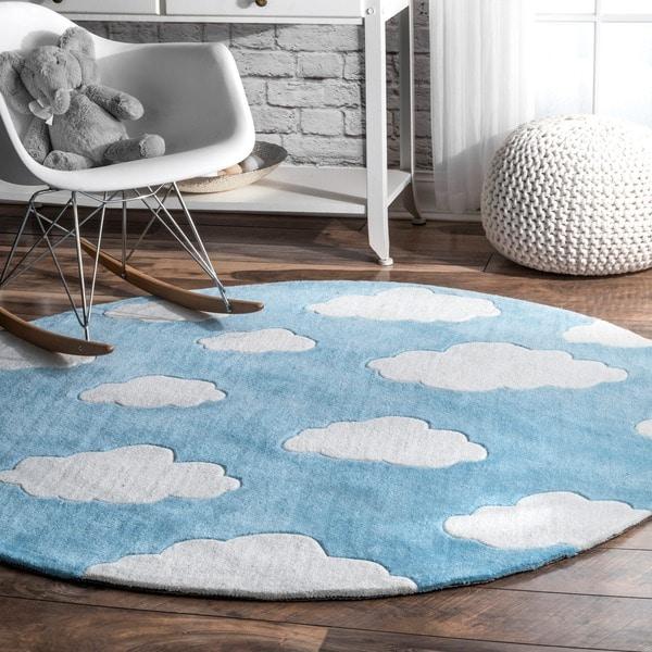 Modern Nursery Rug: Shop NuLoom Handmade Modern Clouds Kids Nursery Blue Round