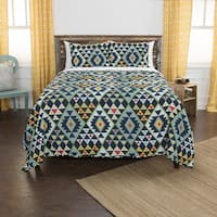 Maddux Place Navy Hand Quilted Cotton Reversible 3-Piece Quilt Set