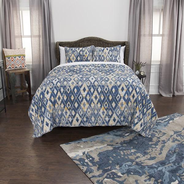 Maddux Place Blue Hand Quilted Cotton Reversible 3-Piece Quilt Set