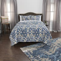Maddux Place Blue Hand Quilted Cotton Reversible 3-Piece Quilt Set