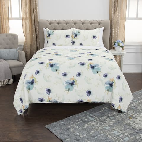 Maddux Place White Blue Hand Quilted Cotton Reversible 3-Piece Quilt Set