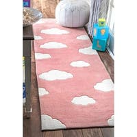 """nuLoom Handmade Modern Clouds Kids Nursery Pink Runner Rug - 2'6"""" x 8' runner"""