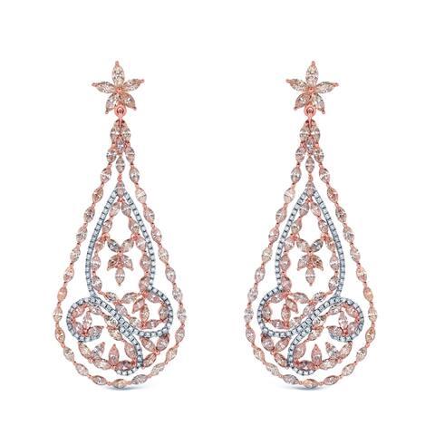 Auriya Unique 15 3/5ctw Fancy Diamond Dangle Earrings 14k Two-tone Gold