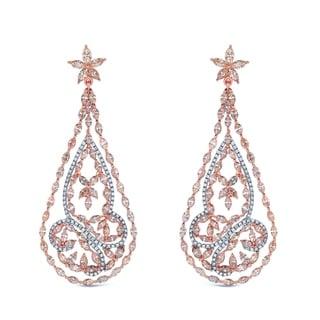 Auriya 14k Two-tone Gold 15 3/5ct TDW Diamond Dangle Earrings