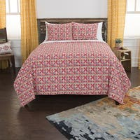 Maddux Place Lilou Red Hand Quilted Cotton Reversible 3-Piece Quilt Set