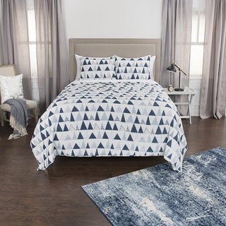 Maddux Place blue Hand Quilted Cotton Reversible 3-Piece Quilt Set (2 options available)