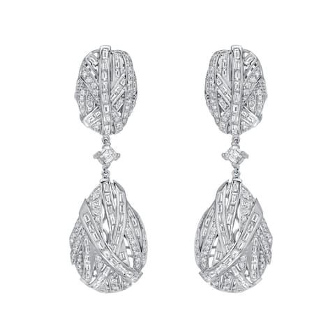 Auriya Unique 7 1/2ct TW Pave Diamond Dangle Earrings 14k White Gold