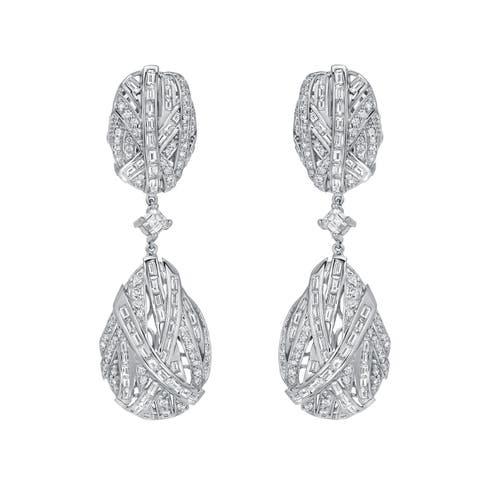 Auriya Unique 7 1/2ct TW Pave Diamond Dangle Earrings 14k White Gold - H-I, SI1-SI2