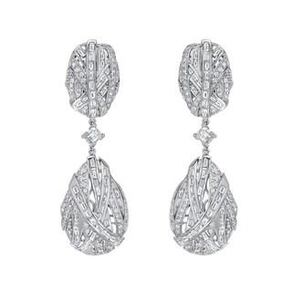 Auriya 14k White Gold 7 1/2ct TDW Diamond Dangle Earrings