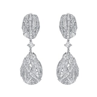 Auriya 14k White Gold 7 1/2ct TDW Diamond Dangle Earrings