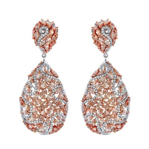 Auriya Unique 19.75 carat TW Fancy Diamond Dangle Earrings 14k Two-Tone Rose Gold
