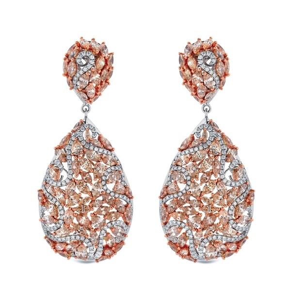Auriya Unique 19.75 carat TW Fancy Diamond Dangle Earrings 14k Two-Tone Rose Gold. Opens flyout.
