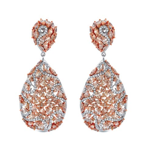Auriya Unique 19.75 carat TW Fancy Diamond Dangle Earrings 14k Two-Tone Rose Gold