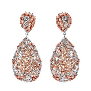 Auriya 14k Two-Tone Rose Gold 19.75 carat TDW Fancy One-of-a-Kind Diamond Dangle Earrings