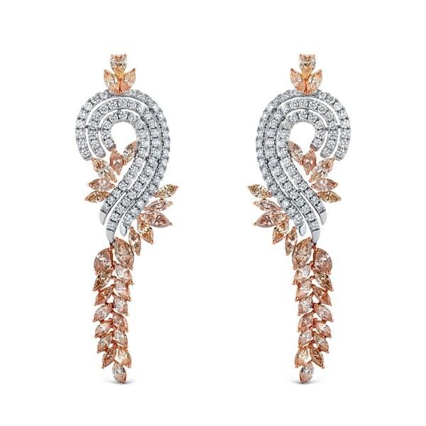 Auriya Unique 17 2/5ctw Diamond Dangle Earrings 14k Two-tone Gold. Opens flyout.