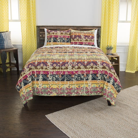 Maddux Place Dash Yellow Hand Quilted Cotton Reversible 3-Piece Quilt Set