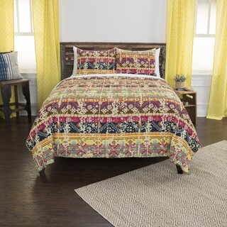 Maddux Place Dash Yellow Hand Quilted Cotton Reversible 3-Piece Quilt Set (2 options available)
