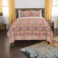 Maddux Place Orange Hand Quilted Cotton Reversible 3-Piece Quilt Set