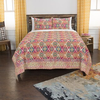 Maddux Place Orange Hand Quilted Cotton Reversible 3-Piece Quilt Set (2 options available)