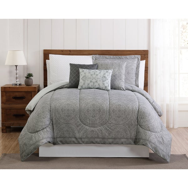 Style 212 Calista Medallion 12 Piece Bed In a Bag Comforter Set with BONUS Pillowcases