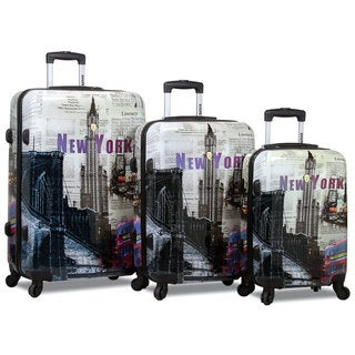World Traveler New York 3-Piece Lightweight Hardside Spinner Luggage Set