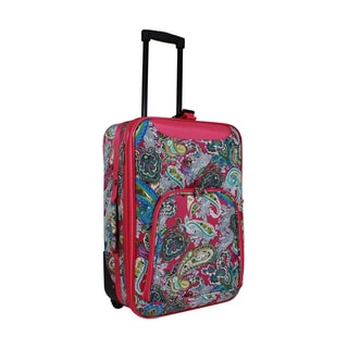 World Traveler Pink Paisley 20-inch Lightweight Carry-on Rolling Upright Suitcase