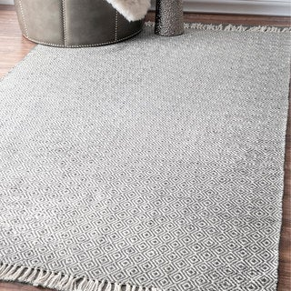 nuLOOM Contemporary Handmade Indoor/Outdoor Diamond Trellis Grey Rug (7'6 x 9'6)