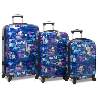 World Traveler Lumos 3-Piece Lightweight Hardside Spinner Luggage Set