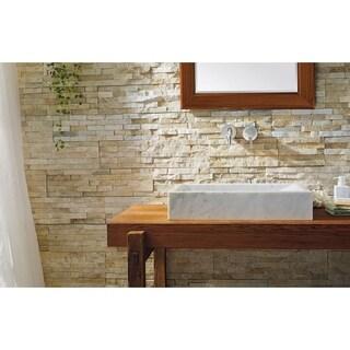 Virtu USA Eros Bianco Carrara Marble Natural Stone Bathroom Vessel Sink
