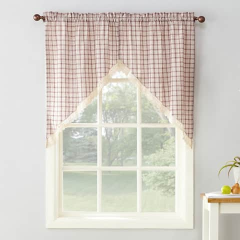 No. 918 Maisie Plaid Kitchen Curtain Swags - 54x38