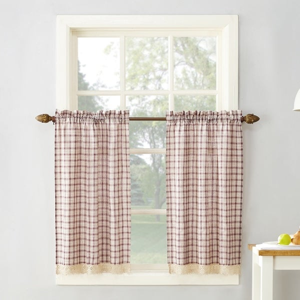 Merveilleux 918 Maisie Plaid Kitchen Curtain Tiers