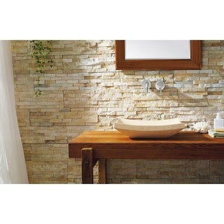 Virtu USA Natural Stone Bathroom Vessel Sink in Sunny Yellow Marble
