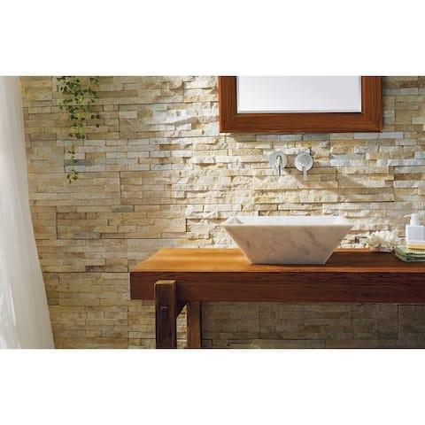 Virtu USA Helios Natural Stone Bathroom Vessel Sink in Bianco Carrara Marble